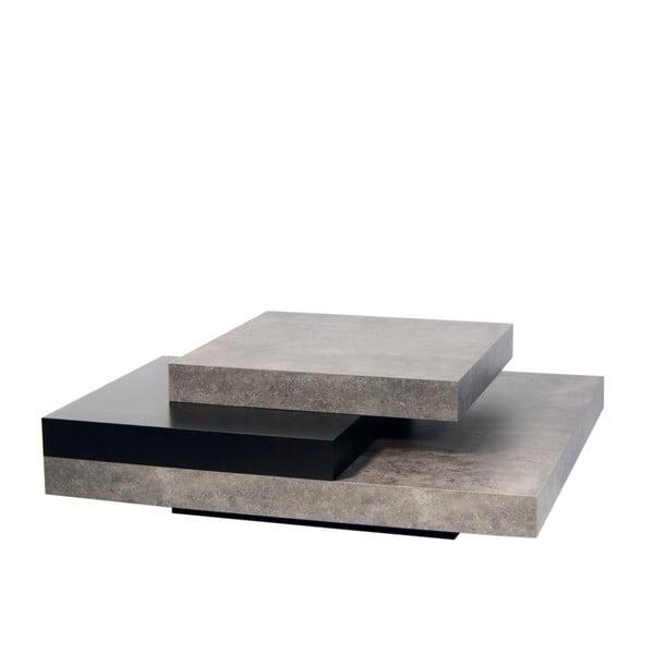 Slate dohányzóasztal, beton dekorral fekete részletekkel - TemaHome