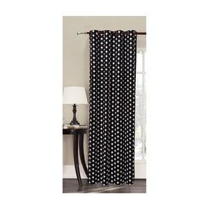 Harmony fekete mikroszálas függöny fehér mintával, 140 x 245 cm - DecoKing