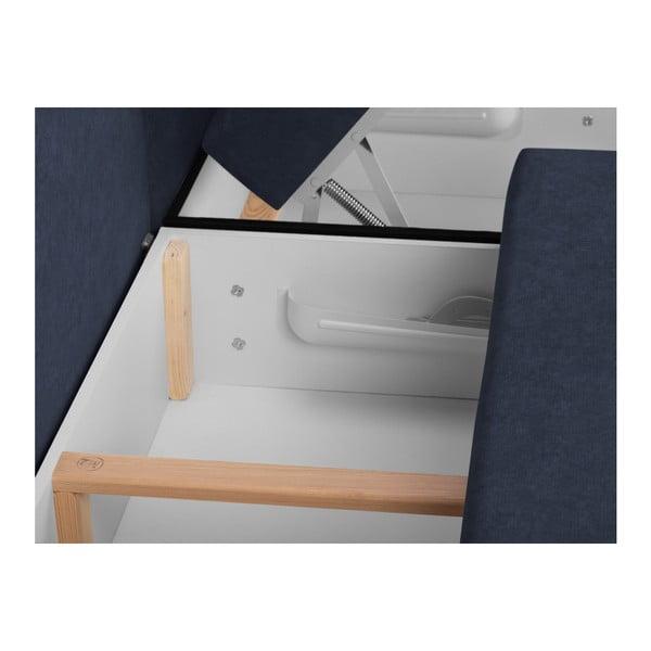 Louise sötétkék háromszemélyes kinyitható sarokkanapé ágyneműtartóval - Melart