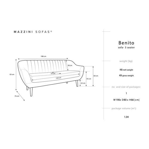 Benito zöld háromszemélyes kanapé fekete lábakkal - Mazzini Sofas