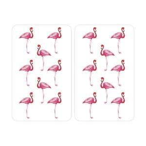 Flamingo tűzhelyvédő üveglap, 2 darab - Wenko