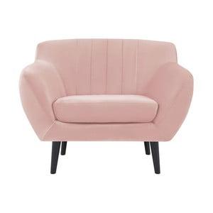 Toscane világos rózsaszín fotel fekete lábakkal - Mazzini Sofas