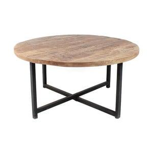 Dex fekete dohányzóasztal mangófa asztallappal, Ø 80 cm - LABEL51