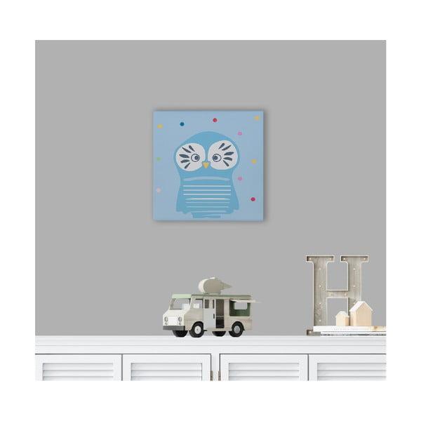 Owl fali kép fából, bagoly motívummal, 40 x 40 cm - KICOTI