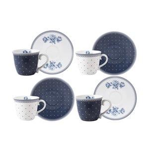 Vintage Indigo 4 részes porcelán kávéscsésze és csészealj szett - Creative Tops