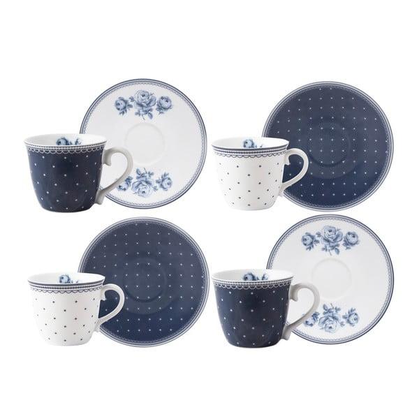 Vintage Indigo 4 db-os porcelán kávéscsésze és csészealj szett - Creative Tops