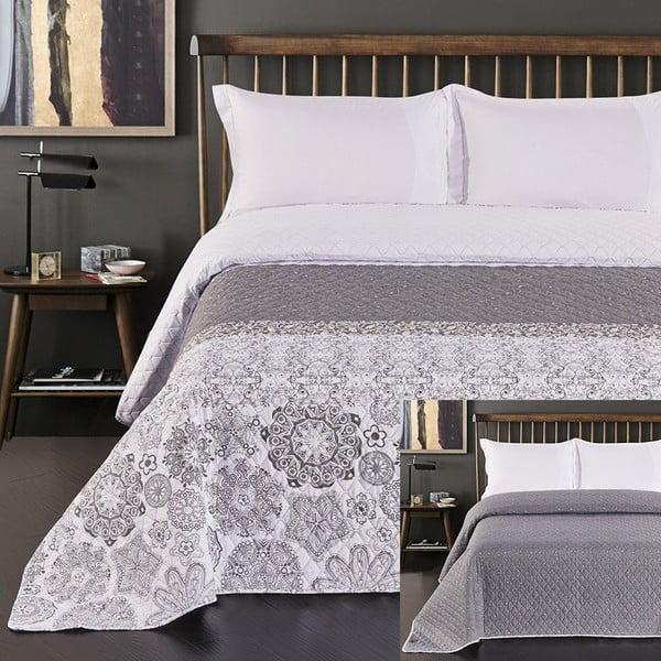 Alhambra szürke-fehér kétoldalas mikroszálas ágytakaró, 220 x 240 cm - DecoKing