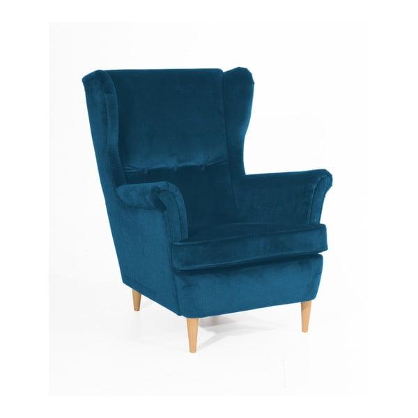 Clint Suede petróleum kék fotel világosbarna lábakkal - Max Winzer