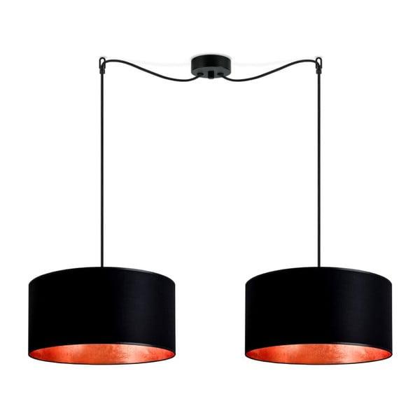 Mika fekete dupla függőlámpa, rézszínű lámpabelsővel - Sotto Luce