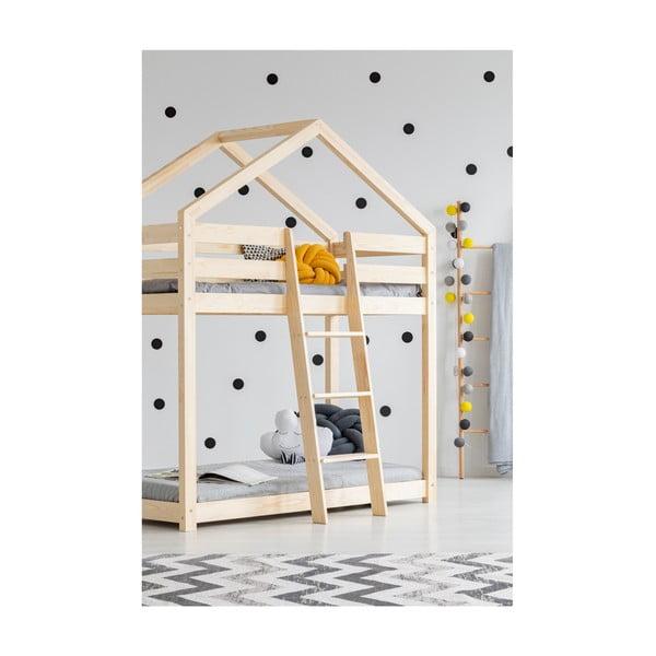 Mila DMP házikó emeletes ágy borovi fenyőfából, 80 x 160 cm - Adeko
