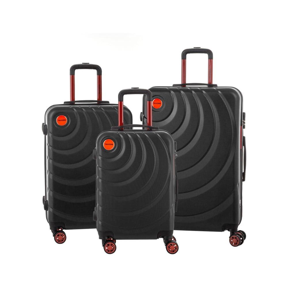 bcbfd5de5ae8 Manhattan 3 db-os fekete bőrönd szett - Murano   Bonami