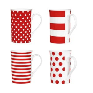 Spot and Stripes Red 4 db-os csésze szett, 270 ml - Premier Housewares
