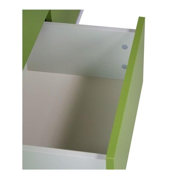 Jorgen kétajtós famintás komód, 2 fiókkal és zöld részletekkel - Skandica