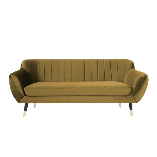 Benito mustársárga háromszemélyes kanapé, fekete lábakkal - Mazzini Sofas