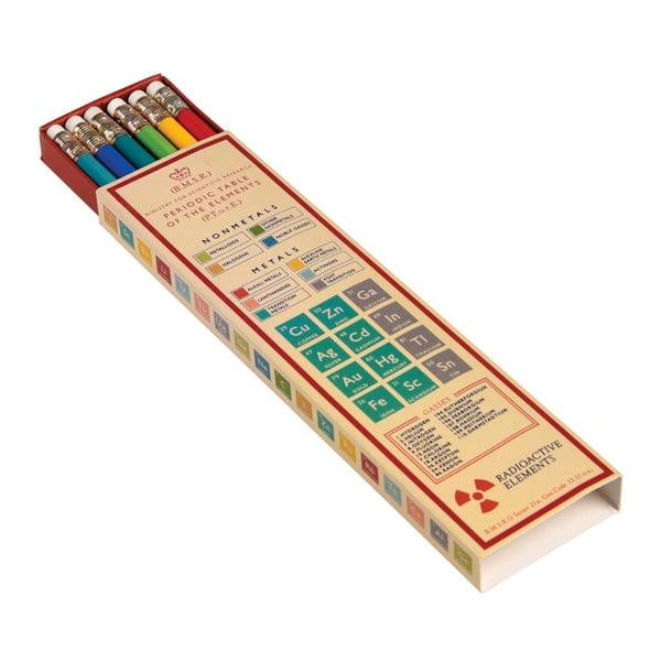 Periodic Table 6 db-os színes ceruzakészlet, papírdobozban - Rex London