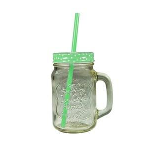 Straw pohár zöld fedéllel és szívószállal, 430 ml - JOCCA