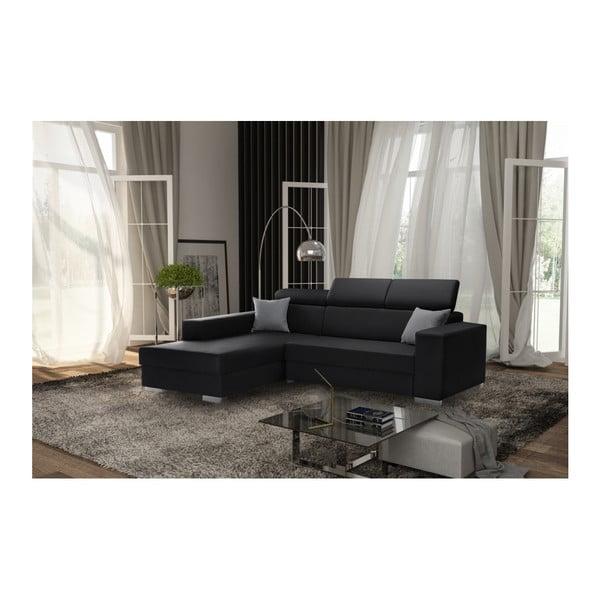 Tresor fekete kanapé szürke párnákkal, bal oldalas - Interieur De Famille Paris