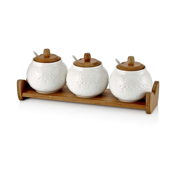 Paul porcelánedény, 3 darabos szett fa tálcán, kanállal, 33 x 11 13 cm