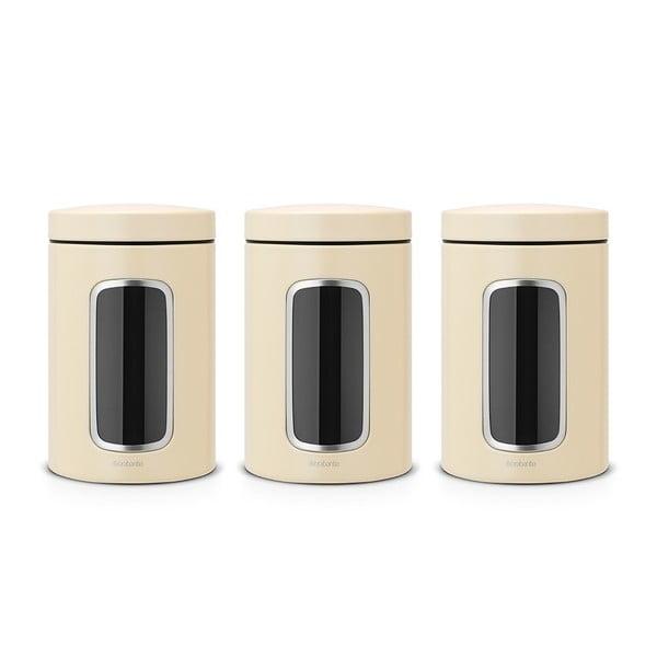 3 részes krémszínű konyhai tárolóedény szett, 1,4 l - Brabantia
