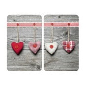 Heart tűzhelyvédő üveglap, 2 db - Wenko