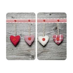 Heart 2 darabos üveg tűzhelyfedő szett - Wenko
