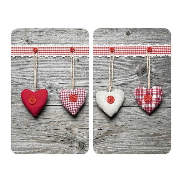 Heart 2 db tűzhelyvédő üveglap, 52x30cm - Wenko