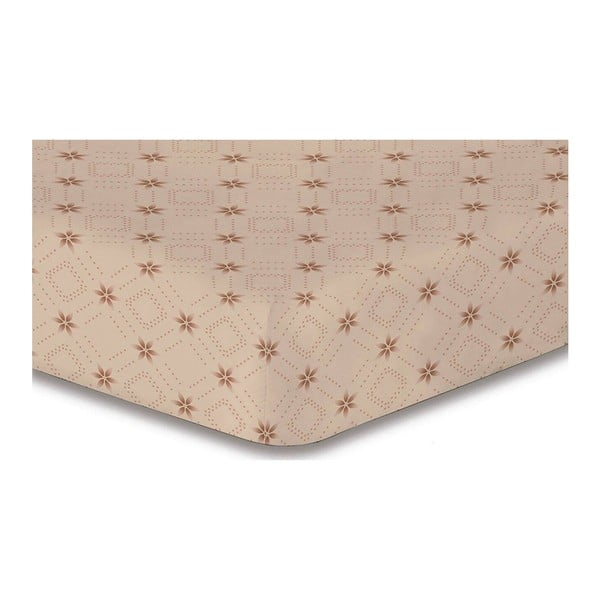 Hypnosis Snowynight bézs mintás gumis lepedő, 160 x 200 cm - DecoKing
