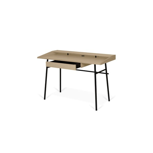 Ply íróasztal tölgyfa lappal és fekete lábakkal, 120 x 81 cm - TemaHome