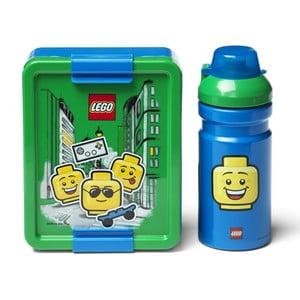 Set zeleno-modrého svačinového boxu a lahve na pití LEGO® Iconic