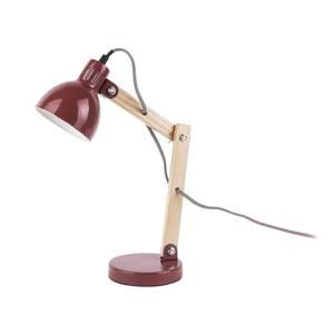 Červená stolní lampa s dřevěnými detaily Leitmotiv Ogle