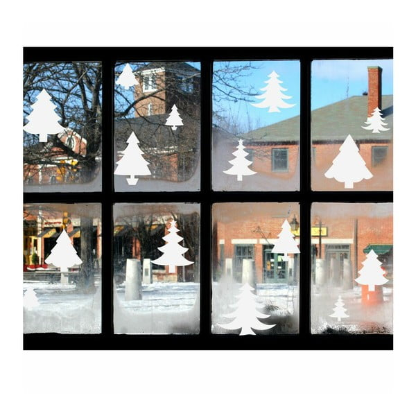 Bright White Christmas Trees elektrosztatikus karácsonyi matrica - Ambiance