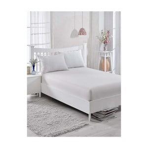 Bílo-šedé bavlněné elastické prostěradlo na jednolůžko Barbra, 100x200cm