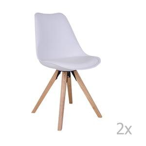Bergen 2 darab fehér szék kaucsukfa lábakkal - House Nordic