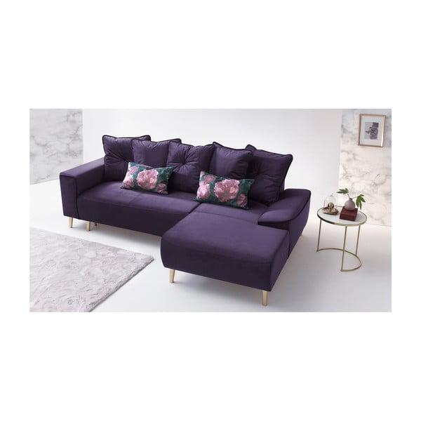 Hera lila négyszemélyes kinyitható kanapé, jobb sarok - Bobochic Paris