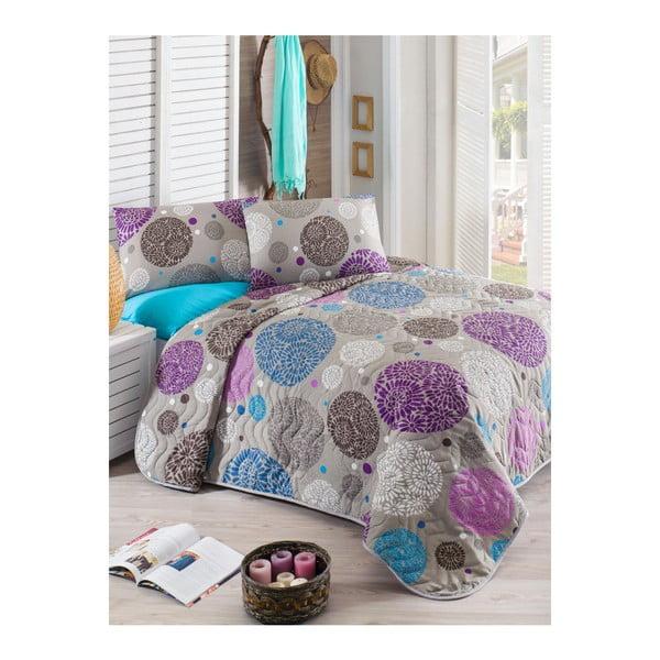 Greyish könnyű, bordó, kétszemélyes takaró tűzdelt díszítéssel, párnahuzatokkal, 200 x 220 cm