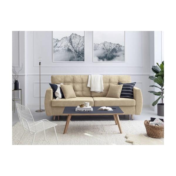 Amsterdam háromszemélyes bézs kinyitható kanapé tárolóval, 231 x 98 x 95 cm - Cosmopolitan design