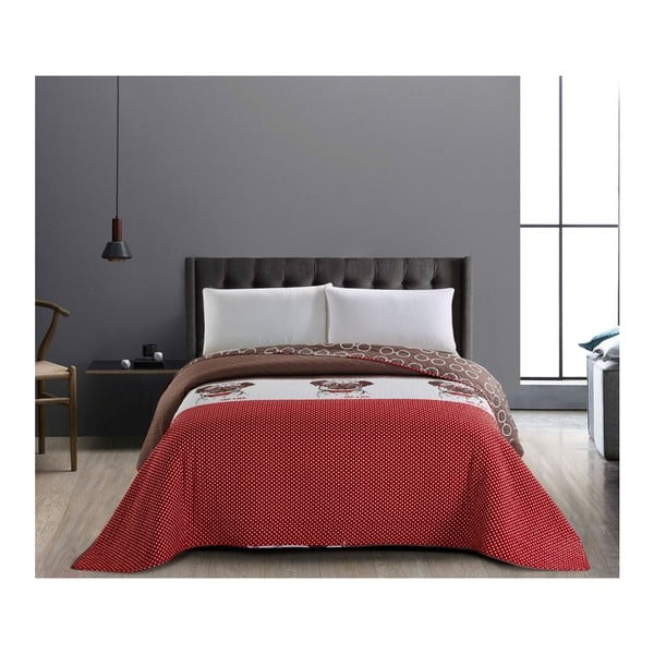 Hug a Pug piros-barna kétoldalas kétszemélyes takaró, 200 x 220 cm - DecoKing