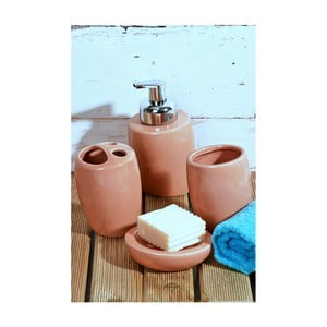 Růžový koupelnový set z keramiky