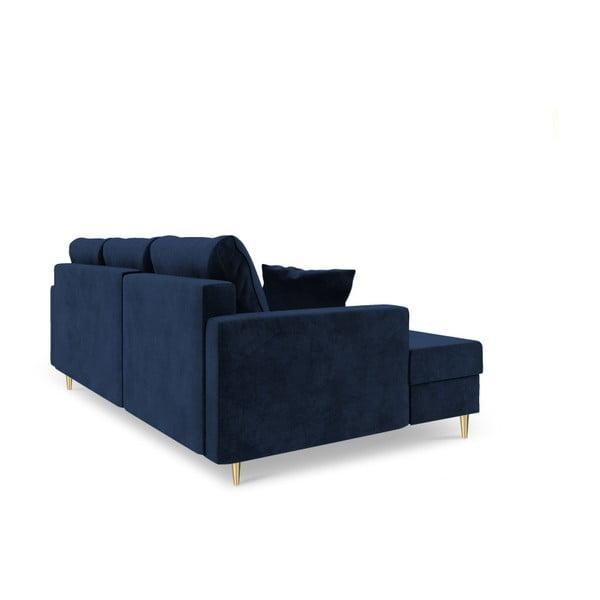 Muguet kék négyszemélyes kinyitható kanapé tárolóhellyel, jobb oldali kivitel - Mazzini Sofas