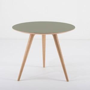 Arp tölgyfa kisasztal zöld asztallappal, Ø 55 cm - Gazzda