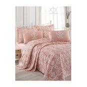 Anna rózsaszín kétszemélyes pamut ágytakaró lepedővel és párnahuzattal, 200 x 235 cm