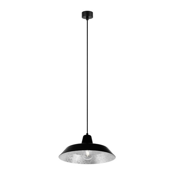 Cinco fekete függőlámpa ezüstszínű lámpabelsővel, ⌀ 35 cm - Bulb Attack