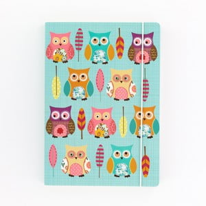 Owls türkizkék jegyzetfüzet, A5 - GO Stationery