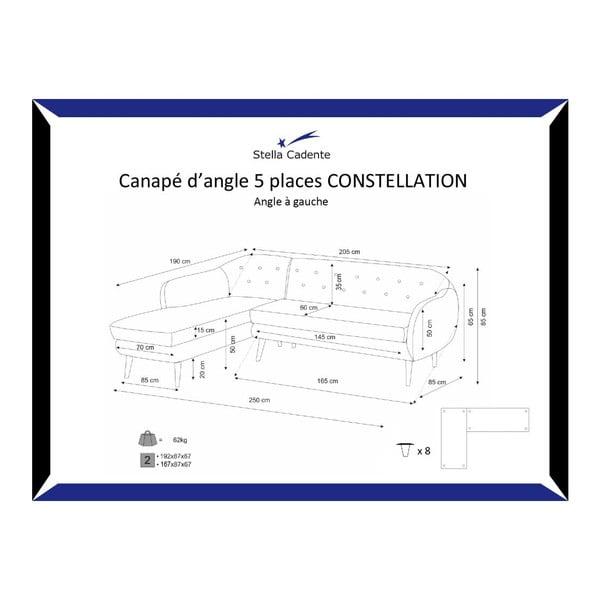Constellation világoszöld bal oldali háromszemélyes kanapé - Scandi by Stella Cadente Maison