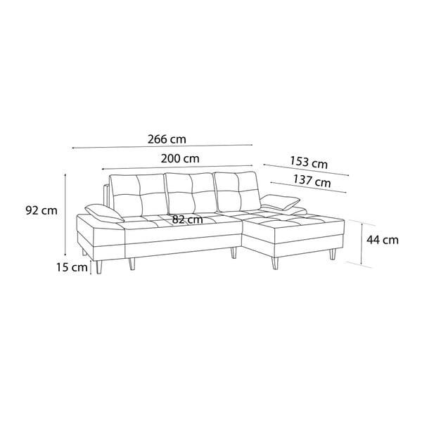 SVEN I sötétszürke kinyitható kanapé, bal oldali kivitel - Bobochic Paris