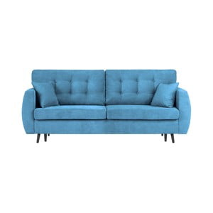 Modrá trojmístná rozkládací pohovka s úložným prostorem Cosmopolitan Design Rotterdam, 231x98x95cm