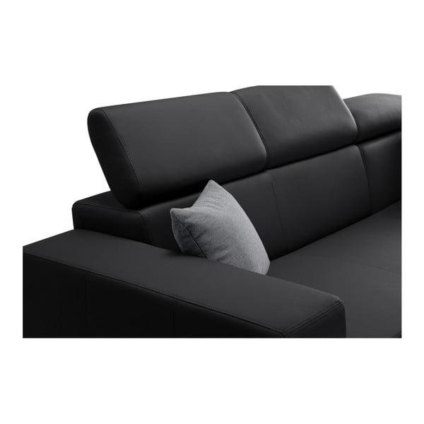 Tresor fekete kanapé szürke párnákkal, jobb oldalas - Interieur De Famille Paris