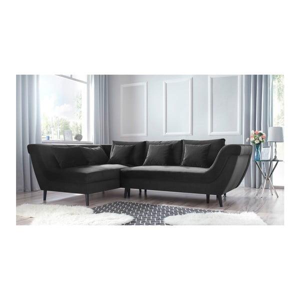 Real sötétszürke négyszemélyes kinyitható kanapé, bal oldali - Bobochic Paris