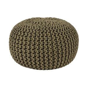Knitted khakiszínű kötött puff, ⌀ 50 cm - LABEL51