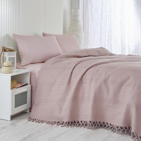 Pique Lilac könnyű pamut kétszemélyes ágytakaró, 220 x 240 cm